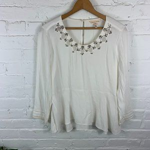 Rebecca Taylor Knit Embellished-Neck Pullover Sz 6